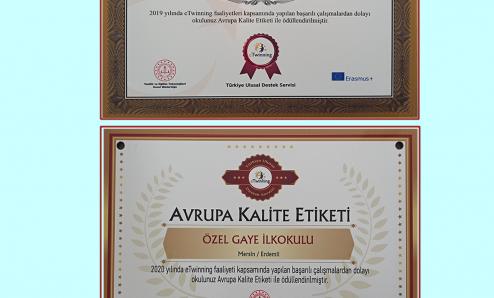 e-Twinnig Avrupa Kalite Etiketi Aldık
